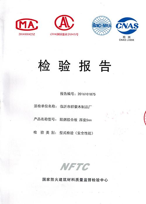 国家防火建筑材料质量监督检验报告